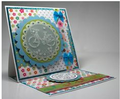 Free Pergamano Pattern - Bicycle. Combination of Pergamano and Sizzix stand up card.