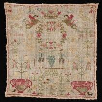 """Merklap gewerkt in kruissteek in gekleurd zijde op ongebleekt losgeweven linnen, gemerkt """"FSM 1805"""""""