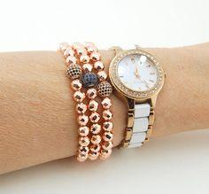 Hematite Gemstone, Stretchy Bracelet, Sterling Silver, Cubic Zircon Charm, Women Bracelet,
