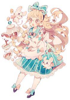 Alice (Alice in Wonderland) Image - Zerochan Anime Image Board Kawaii Anime, Cute Anime Chibi, Kawaii Art, Oc Drawings, Kawaii Drawings, Cute Drawings, Old Anime, Manga Anime, Arte Disney