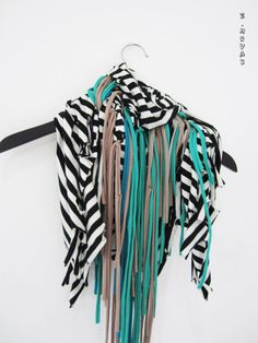 Fringe Scarf Poncho Black And White Stripe