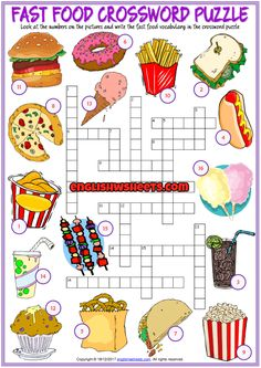 Fast Food Crossword Puzzle ESL Printable Worksheet – Pin's Page English Worksheets For Kids, English Lessons For Kids, English Activities, French Worksheets, English Games, Kids English, English Food, English Class, Printable Crossword Puzzles