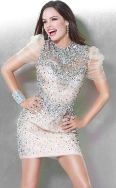 Jovani Sheer Short Sleeve Cocktail Dress with Sequins 9501