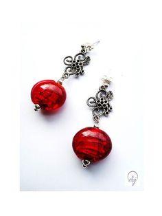 Red Round Flat Pendant Bead Earrings - (UK) British Handmade Bead Jewellery Designer - £25.00