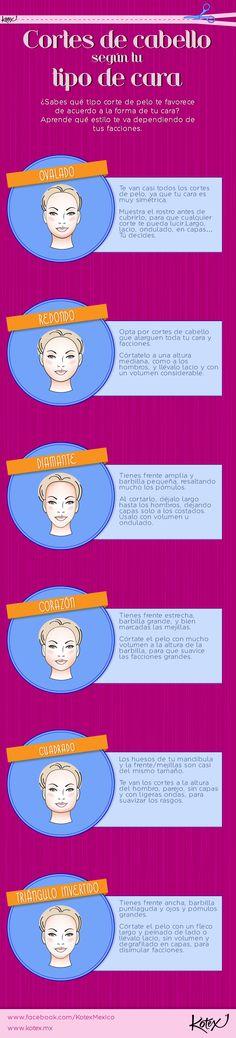 El cabello debe estilizarse según tu tipo de cara. ¿Ya sabes cuál es tu corte perfecto?     #hairstyle #hair #cut #cool #belleza #cabello #infografia #kotex