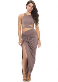 Fashion Ultra Sexy Coffee Sleeveless Spandex Polyester round neck Side Open Slim Evening & Party Dresses