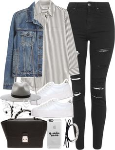 Outfit with ripped jeans and platform sneakers by ferned featuring a leather necklace Equipment striped shirt, 495 AUD / Proenza Schouler blue jacket, 465 AUD / Topshop distressed jeans, 87 AUD / No Name leather shoes, 195 AUD / Forever 21 white...