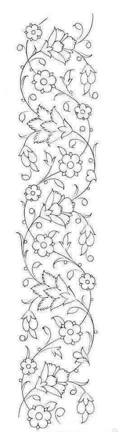 Hand Embroidery Patterns, Ribbon Embroidery, Embroidery Stitches, Machine Embroidery, Mexican Embroidery, Fabric Painting, Pattern Art, Border Pattern, Quilting Designs