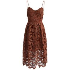 Chicwish Ingenious Crochet Cami Dress in Tan ($62) ❤ liked on Polyvore featuring dresses, brown, cami dress, brown cami, crochet lace dress, transparent dress and sheer dress