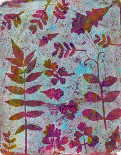 Gelli prints with leaves….5 prints | coolquilting
