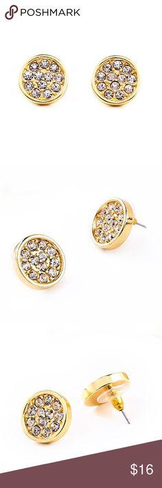 "Disc Earrings Stunning Disc Earrings  Size: 0.67"" x 0.67""  Material: Gold-tone Base Metals, Rhinestones  Nickel & Lead Free  NWT Jewelry Earrings"