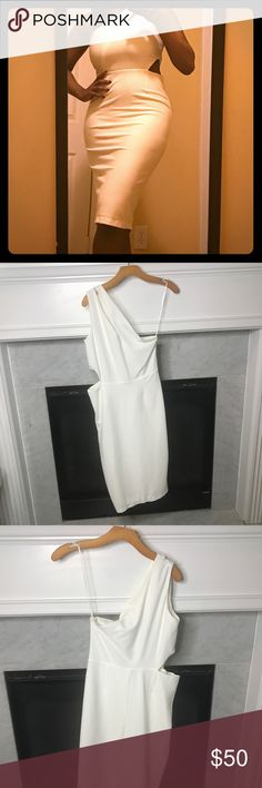 ASOS White Midi Dress with Cutouts ASOS white midi dress with cutouts on shoulder and side. Super cute and would be perfect for a date night or all white party! New with tags! Asos Dresses Midi