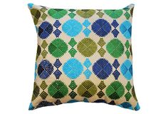 Phulkari 18x18 Cotton Pillow, Blue on OneKingsLane.com