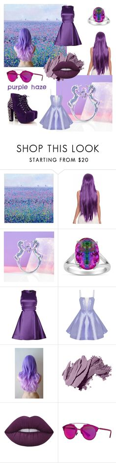 """purple haze"" by beanpod ❤ liked on Polyvore featuring Me & Zena, Rainbow, Cynthia Rowley, Alex Perry, Bobbi Brown Cosmetics, Lime Crime and Christian Dior"