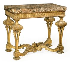A Queen Anne Gilt-Gesso Marble Top Pier Table in the Manner of Gerrit Jensen Circa 1710