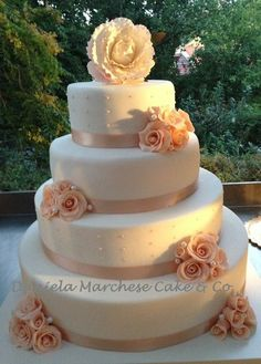 Wild Roses Blush wedding cake  ~ Sugar paste flowers and all edible