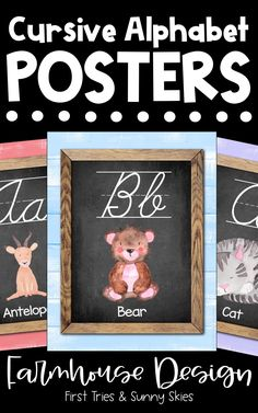 Printable Cursive Alphabet Posters - Printable ABC Posters for Classroom - Enjoy this adorable set of printable Farmhouse style ABC posters for your classroom! Each alphabet poster features a chic farmhouse design with an animal. These posters are the perfect addition to your walls and bulletin boards! Great for word walls and high frequency sight words. #abc #kindergarten #alphabet #posters #farmhouse #literacy #elementary #preschool #primary #wordwall #cursive #3rdgrade #4thgrade #2ndgrade Alphabet Posters, Abc Poster, Cursive Alphabet, Printable Alphabet, Abc Kindergarten, Preschool, Classroom Posters, Classroom Decor, Farmhouse Design