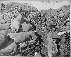 World War I soldiers in trench.