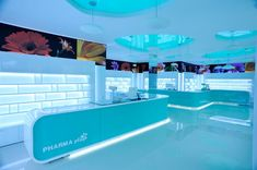 Pharma Plus drug store by H Studio Cosmetic Shop, Cosmetic Design, Visual Merchandising, Pharmacy Store, Drug Store, Retail Store Design, Supermarket Design, Counter Design, Hospital Design
