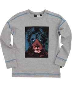 Molo funky grijze t-shirt met grote leeuwenkop. molo.nl.emilea.be