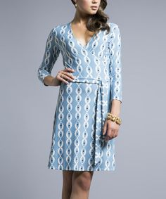 Another great find on #zulily! Robin's Egg Blue Tie-Waist Surplice Dress by Leota #zulilyfinds