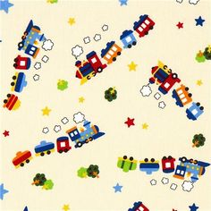 train fabric for boys with locomotive by Kokka  cream coloured children fabric with train, locomotive, stars and trees