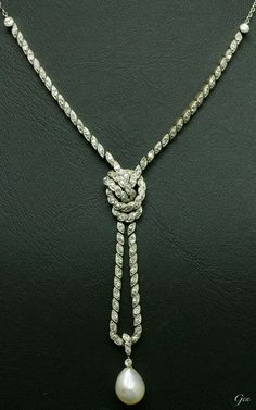 エドワーディアン 天然真珠 ダイヤモンド付きチェーン ネックレス アンティークジュエリー 拡大