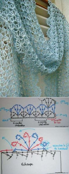 Free crochet diagram wonderful crocheted scarf Spring / Summer with graphic —- beautiful crocheted scarf for spring or summer + grafics Source by Crochet Diy, Poncho Au Crochet, Crochet Shawls And Wraps, Crochet Scarves, Crochet Clothes, Crocheted Scarf, Lace Scarf, Lace Shawls, Diy Scarf