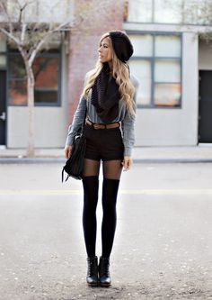 News | Daily Chic black hat shorts jacket socks shoes clothing apparel style women outfit