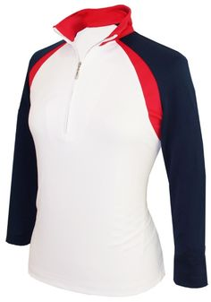 White / Navy / Red Monterey Club Ladies Double Colorblock Stand-up Collar 3/4 Sleeve Golf Shirt available at #lorisgolfshoppe