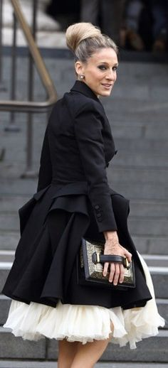 black trench + full skirt
