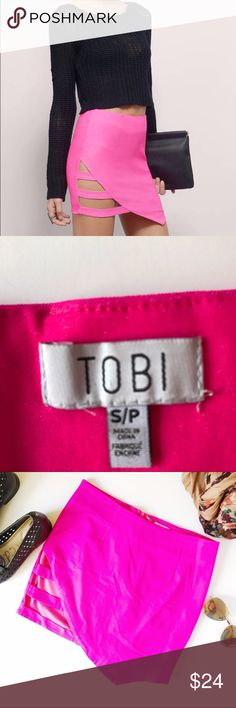 Tobi Hot Pink Skirt with side cut outs This gorgeous hot pink skirt has side cut outs on it. It's asymmetrical-- the longest side measures 16 inches the shortest part of the measures 13 inches the width is 13. 77% rayon 20% nylon 3% spandex stock 21–33 Tobi Skirts