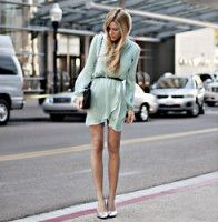 aqua wrap dress.