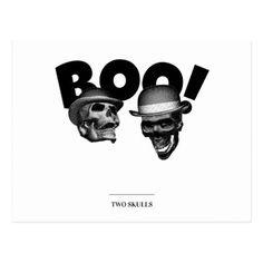 Two Skulls Boo! Postcard - postcard post card postcards unique diy cyo customize personalize