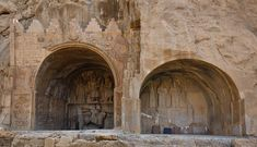 Sasanian Golden Era - High-relief of Shapur II and  Shapur III (the right arch), Taq-e Bostan, Kermanshah, Iran.