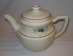 Basketweave Floral 6 Cup Teapot Handpainted Heavy Duty Porcelier China | eBay