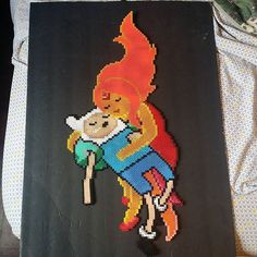 Finn and Flame Princess - Adventure Time perler beads by babelovespookie (Ironed and finished)