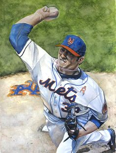 Matt Harvey of the New York Mets watercolor by Michael Pattison