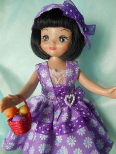 Dress for Tiny Betsy McCall 8 inch dolls Or Kish Riley. Comes with head band and basket. On my ebay