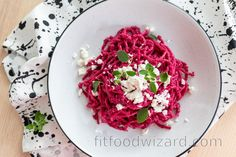 You have to try this delicious and simple whole grain pasta with beetroot pesto! Not only is this meal irresistibly tasty but it also is a feast for the eyes. You can prepare th... Beetroot, How To Cook Pasta, Beets, Tofu, Cabbage, Spices, Healthy Recipes, Healthy Food, Tasty