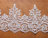 LARGE Wedding Lace,ivory White Lace Trim 8.26 Inches Wide 0.55 Yards/ Craft Supplies,WL015