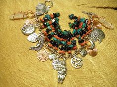 Beautiful One of a Kind Artisan Hand Crafted Goddess Bracelet with Pewter Venus of Willendorf Goddess Charm, Handmade Copper Spirals of Life, Hand Wire Wrapped Copper and Crystal Points, Turquoise, Coral, and Onyx Stones, and Pewter Charms #2 in Limited Edition Series by MelancholyMind, $39.99