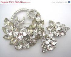 SALE Eisenberg Ice Set  Brooch and Clip Earrings by VintageInBloom, $78.20