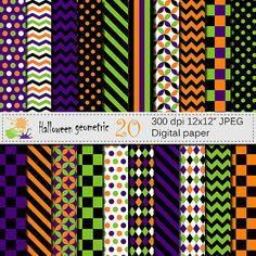 Halloween Geometric Digital Paper Set Digital by VRDigitalDesign