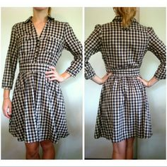 Check Shirt Dress Button Collar 4 Zip side Waist more like a size 0/2 Brand H&M, so usually fits smaller Button front until waistband 3/4 sleeve 100% Cotton  Great condition Zara Dresses Long Sleeve