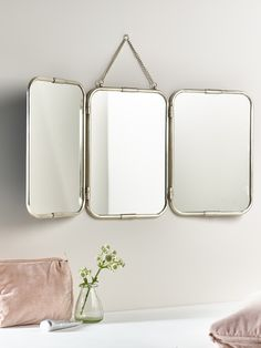 French Triple Mirror - Antique Silver