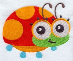 Wide-Eyed Baby Girl Ladybug design (F3075) from www.Emblibrary.com
