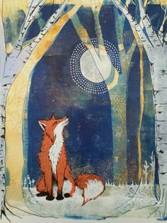Original mixed media gelatin monoprint woodland fox - by Lucy Brydon