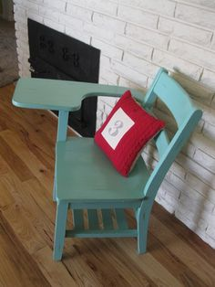 old wooden school desk in green ith darker stained top. Modern ...