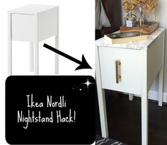 They gave it a marbleized top! I love a good Ikea hack! This one is perfect for small spaces and looks so expensive!
